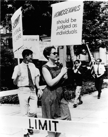 Gay rights activist Barbara Gittings picketing Independence Hall in Philadelphia in 1965 (New York Public Library, Manuscripts and Archives Division)
